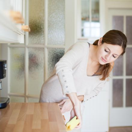 professional home cleaners bend as less as possible